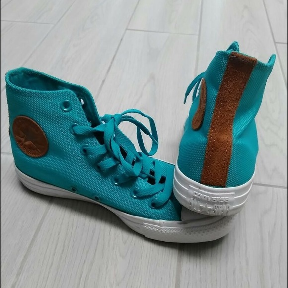 Converse Shoes - Turquoise Converse with Leather Detail